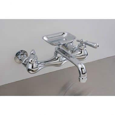 Strom Plumbing Wall Mount Bridge Style Kitchen Sink Faucet with Soap Dish