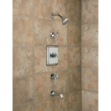 Strom Complete Thermostatic Tub & Shower Set with Deco Cross Handles