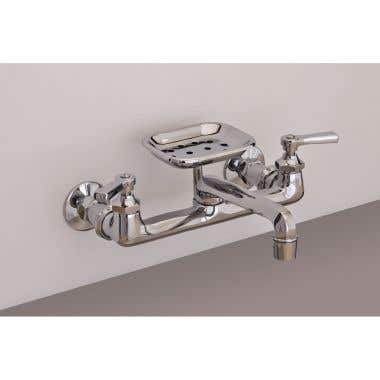 Strom Plumbing Wall Mount Kitchen Faucet with Swivel Spout and Soap Dish - 8 Inch Centers