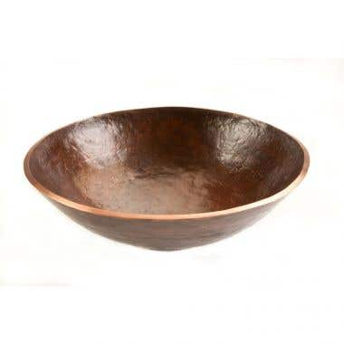 Premier Copper Products 16 Inch Round Hand Forged Old World Copper Vessel Sink
