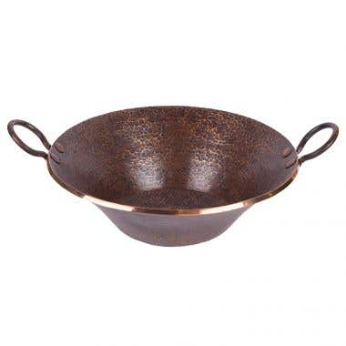 Premier Copper Round Hand Forged Old World Miners Pan Copper Vessel Sink