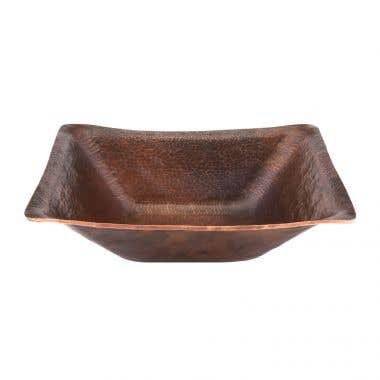 Premier Copper Products 17 Inch Rectangle Hand Forged Old World Copper Vessel Sink
