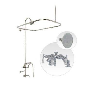 Randolph Morris Deck Mount Clawfoot Tub Shower Enclosure with Downspout Faucet and Showerhead