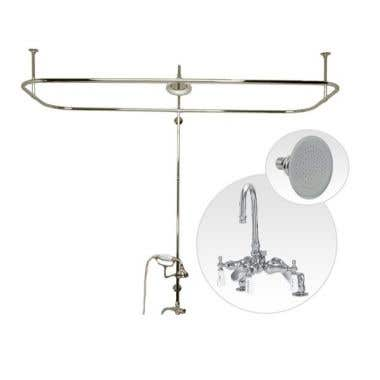 Randolph Morris Side Deck Mount Clawfoot Tub Shower Enclosure with Gooseneck Faucet and Showerhead