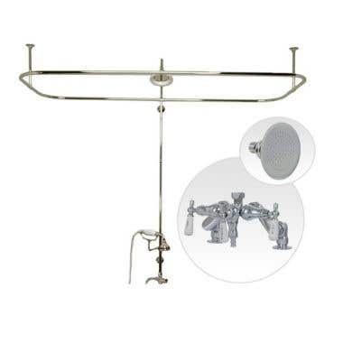 Randolph Morris Side Deck Mount Clawfoot Tub Shower Enclosure with Downspout Faucet and Showerhead