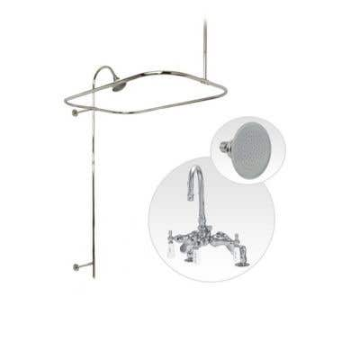 Randolph Morris Deck Mount Clawfoot Tub Shower Enclosure with Gooseneck Faucet and Showerhead