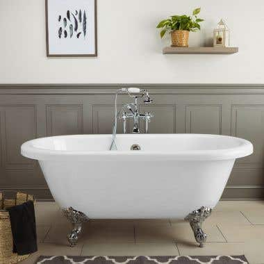 Windsor Acrylic Double Ended Clawfoot Tub - Continuous Roll Rim - No Faucet Drillings - Ball and Claw Feet