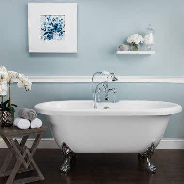 Juniper Acrylic Double Ended Clawfoot Tub - Rim Faucet Drillings - Lion Paw Feet