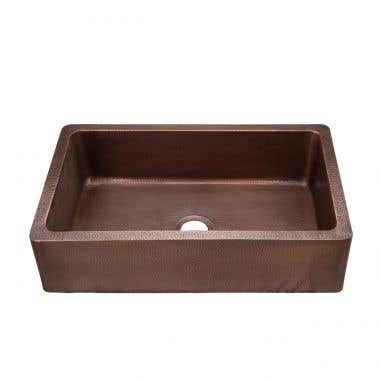 36 INCH COPPER SINGLE BOWL APRON FARMHOUSE SINK