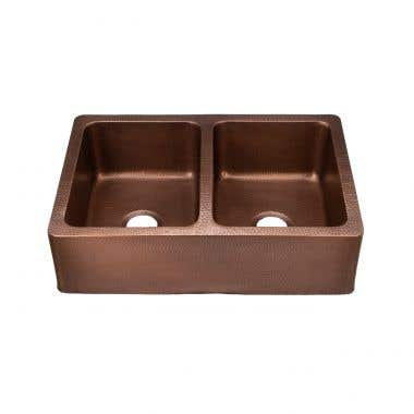 33 INCH COPPER DOUBLE BOWL APRON FARMHOUSE SINK