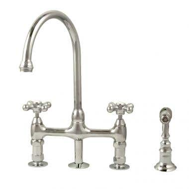 Randolph Morris Gooseneck Bridge Style Kitchen Faucet with Metal Cross Handles