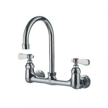 Randolph Morris Wall Mount Gooseneck Utility Faucet with Swivel Spout and Lever Handles