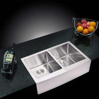 Water Creation Stainless Steel 33 Inch 15mm Corner Radius Double Bowl Apron Front Kitchen Sink