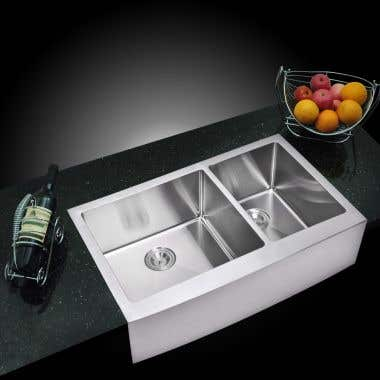Water Creation Stainless Steel 36 Inch 15mm Corner Radius Double Bowl Apron Front Kitchen Sink