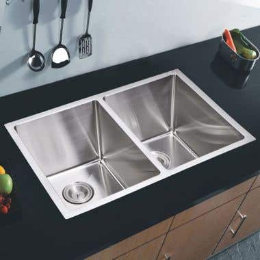 Water Creation Stainless Steel 31 Inch Double Bowl Undermount Kitchen Sink With Coved Corners