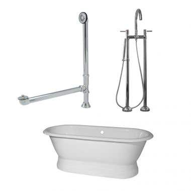 Randolph Morris 60 Inch Cast Iron Double Ended Pedestal Tub Package