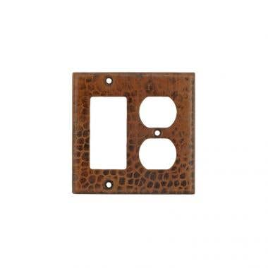 Premier Copper Products Hand Hammered Copper Combination Switch Plate, 2 Hole Outlet and Ground Fault/Rocker GFI Cover