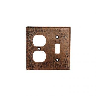 Premier Copper Products Copper Combination Switchplate, 2 Hole Outlet and Single Toggle Switch