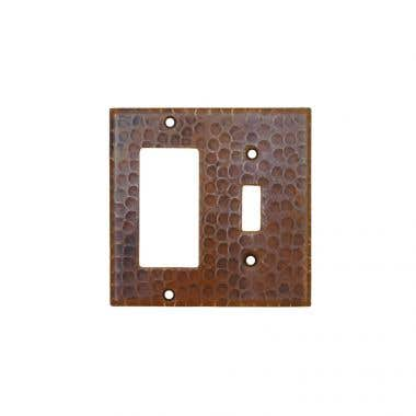 Premier Copper Copper Combination Switchplate, 1 Hole Single Toggle Switch and Ground Fault/Rocker GFI Cover