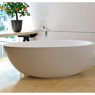 Aquatica Spoon 2 66 Inch Egg Shaped Freestanding Solid Surface Bathtub