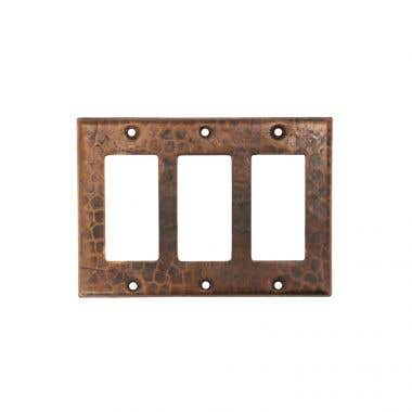 Premier Copper Products Copper Switchplate Triple Ground Fault/Rocker GFI Cover