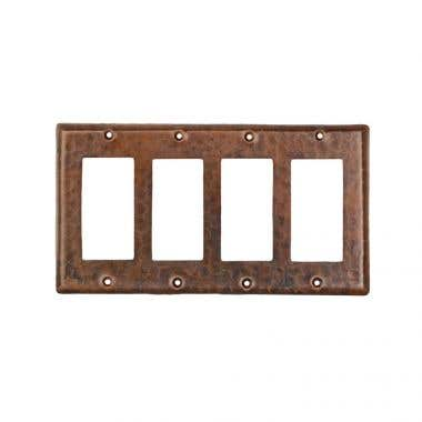 Premier Copper Products Hand Hammered Copper Switch Plate Quadruple Ground Fault/Rocker Cover GFI
