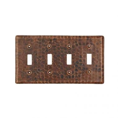 Premier Copper Products Hand Hammered Copper Switch Plate Quadruple Toggle Switch Cover