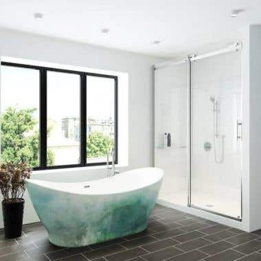 A&E Bath and Shower Tundra Acrylic Double Slipper Freestanding Tub - No Faucet Drillings