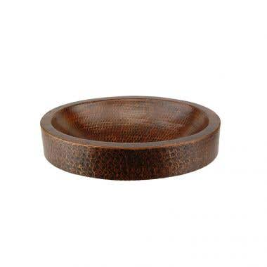 Premier Copper Products 17 Inch Compact Oval Skirted Vessel Hammered Copper Sink