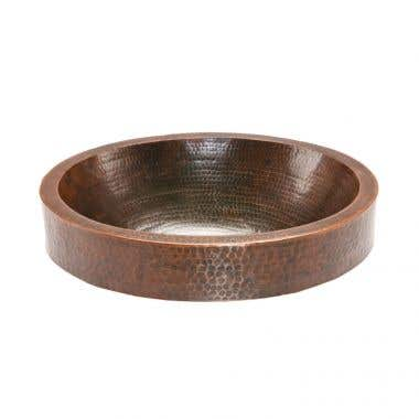 Premier Copper Products Oval Skirted Vessel Hammered Copper Sink