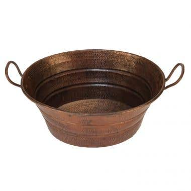Premier Copper Oval Bucket Vessel Hammered Copper Sink with Handles