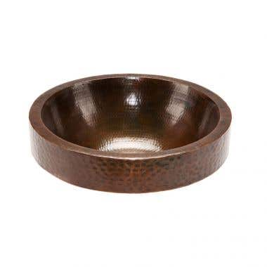 Premier Copper Products Round Skirted Vessel Hammered Copper Sink
