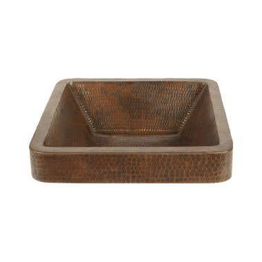 Premier Copper Square Skirted Vessel Hammered Copper Sink
