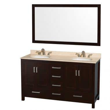 Wyndham Collection Sheffield 60 In Double Oval Sink Vanity Set