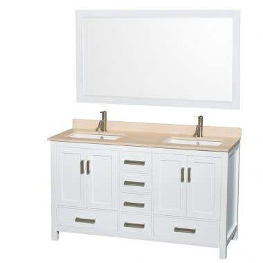 Wyndham Collection Sheffield 60 In Double Square Sink Vanity Set