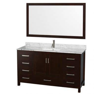 Wyndham Collection Sheffield 60 In Single Square Sink Vanity Set