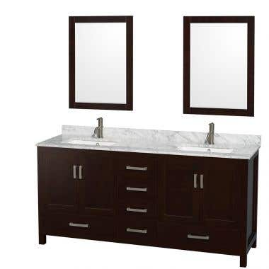Wyndham Collection Sheffield 72 In Double Square Sink Vanity Set