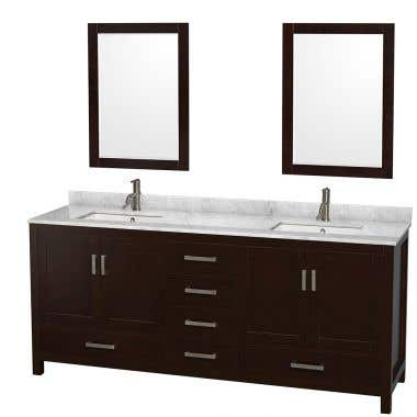 Wyndham Collection Sheffield 80 In Double Square Sink Vanity Set