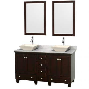 Wyndham Collection Acclaim 60 Inch Double Bowl Bathroom Vanity Set with Vessel Sink