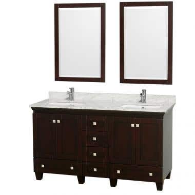 Wyndham Collection Acclaim 60 Inch Double Bowl Bathroom Vanity Set with Undermount Sink