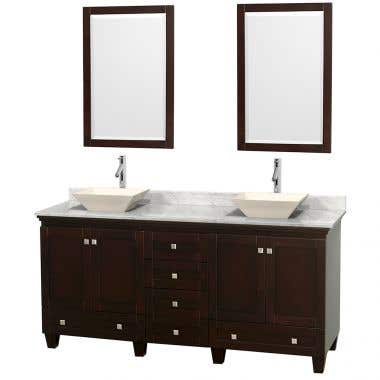 Wyndham Collection Acclaim 72 Inch Double Bowl Bathroom Vanity Set with Vessel Sink