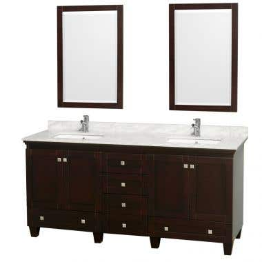 Wyndham Collection Acclaim 72 Inch Double Bowl Bathroom Vanity Set with Undermount Sink