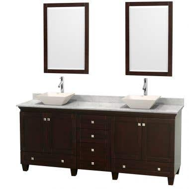 Wyndham Collection Acclaim 80 Inch Double Bowl Bathroom Vanity Set with Vessel Sink