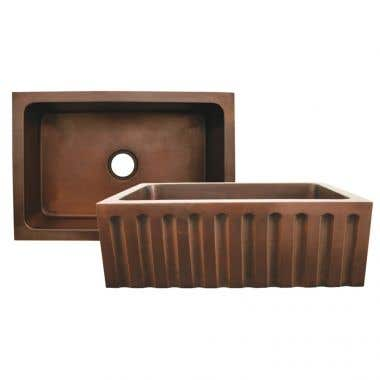 Whitehaus Copperhaus Copper Kitchen Sink with Fluted Design - No Faucet Drillings