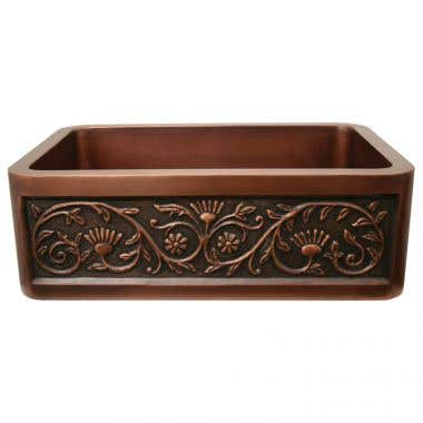 Whitehaus Copperhaus 30 Inch Undermount Copper Sink with Sun Flower Design - No Faucet Drillings