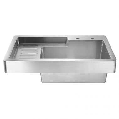 Whitehaus Pearlhaus 33 Inch Single Bowl Drop In Drain Board Utility Sink - 8 Inch Faucet Drillings