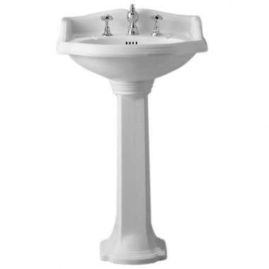 Whitehaus Collection China Series Small Washbasin with Backsplash Pedestal Sink
