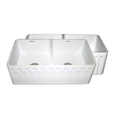 Whitehaus Reversible Series Double Bowl Fireclay Kitchen Sink