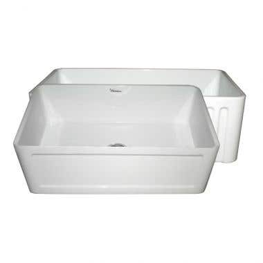 Whitehaus Reversible Series Concave/Fluted Fireclay Farmhouse Kitchen Sink