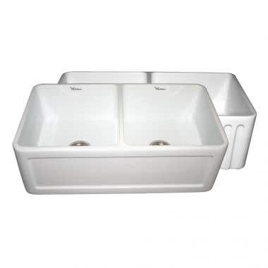 Whitehaus Reversible Series Fluted/Concave Fireclay Farmhouse Kitchen Sink